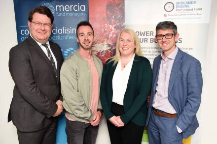 from left to right, Lewis Stringer of the British Business Bank, Alex Booth, CEO of Transaction Technologies, Sandy Reid of Mercia and Mark Payton, CEO of Mercia.
