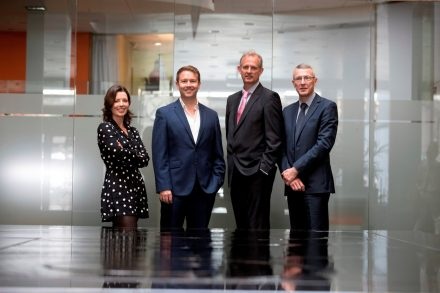 From left: Helen Norris, Kernel Capital; Dr. John Ghent, CEO, Sytorus; Peter Lennox, Enterprise Ireland & Donal Duffy, Bank of Ireland
