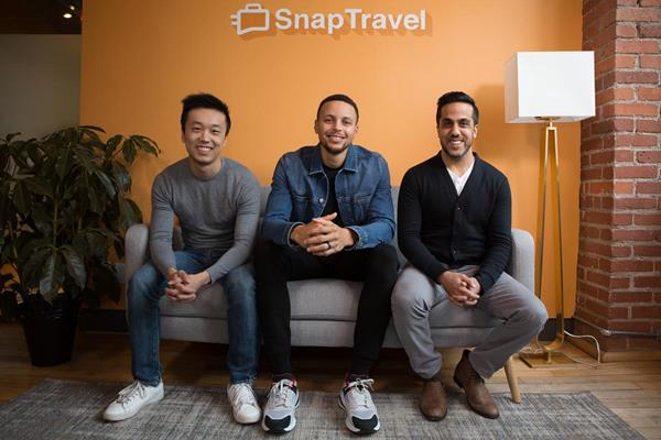 Investor and NBA Player Stephen Curry with SnapTravel Co-founders Henry Shi & Hussein Fazal Photo credit: David Spowart at Lost Forest Media