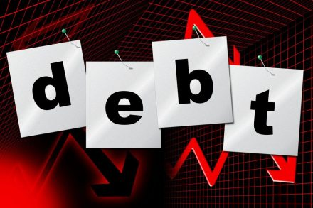 Debt sign showing a gradual reduction