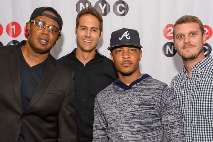 From l-r; Master P, Cinq President, Urban Music, Jason Peterson, CEO Godigital Media Group, Cinq artist T.I. and Barry Daffurn, Cinq co-founder and President.
