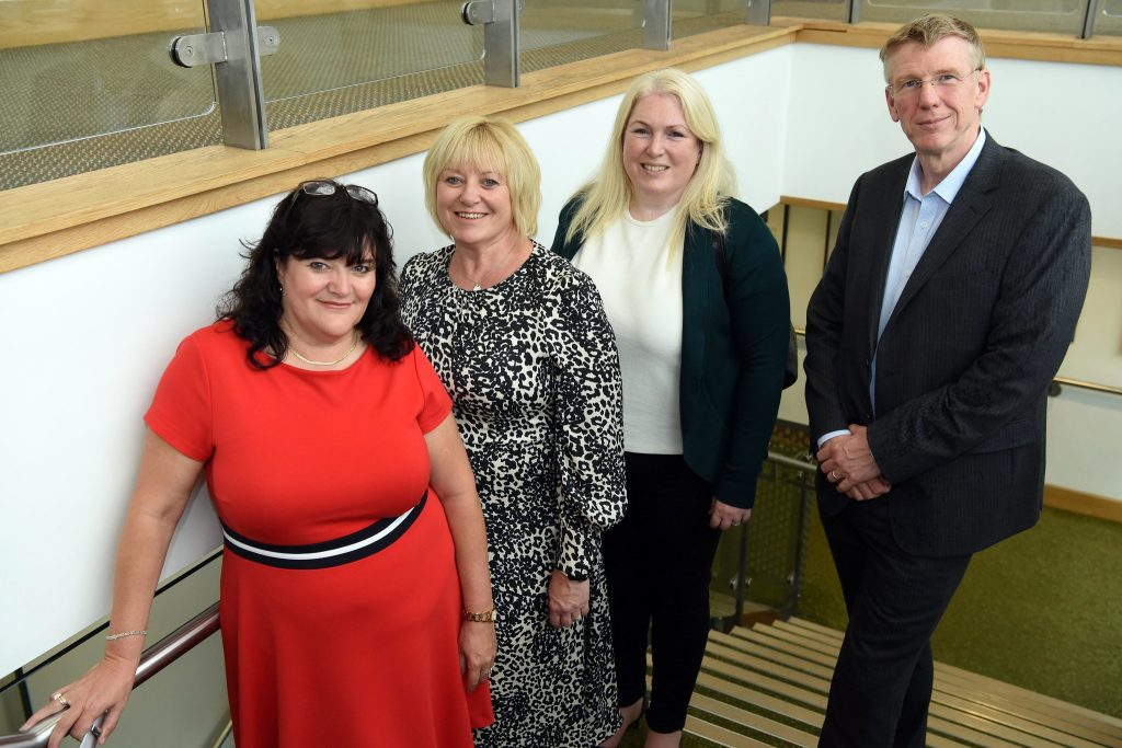 from left, Leanne Bonner-Cooke MBE and Colette Wyatt of e-Bate with Sandy Reid of Mercia and Ken Cooper of the British Business Bank.