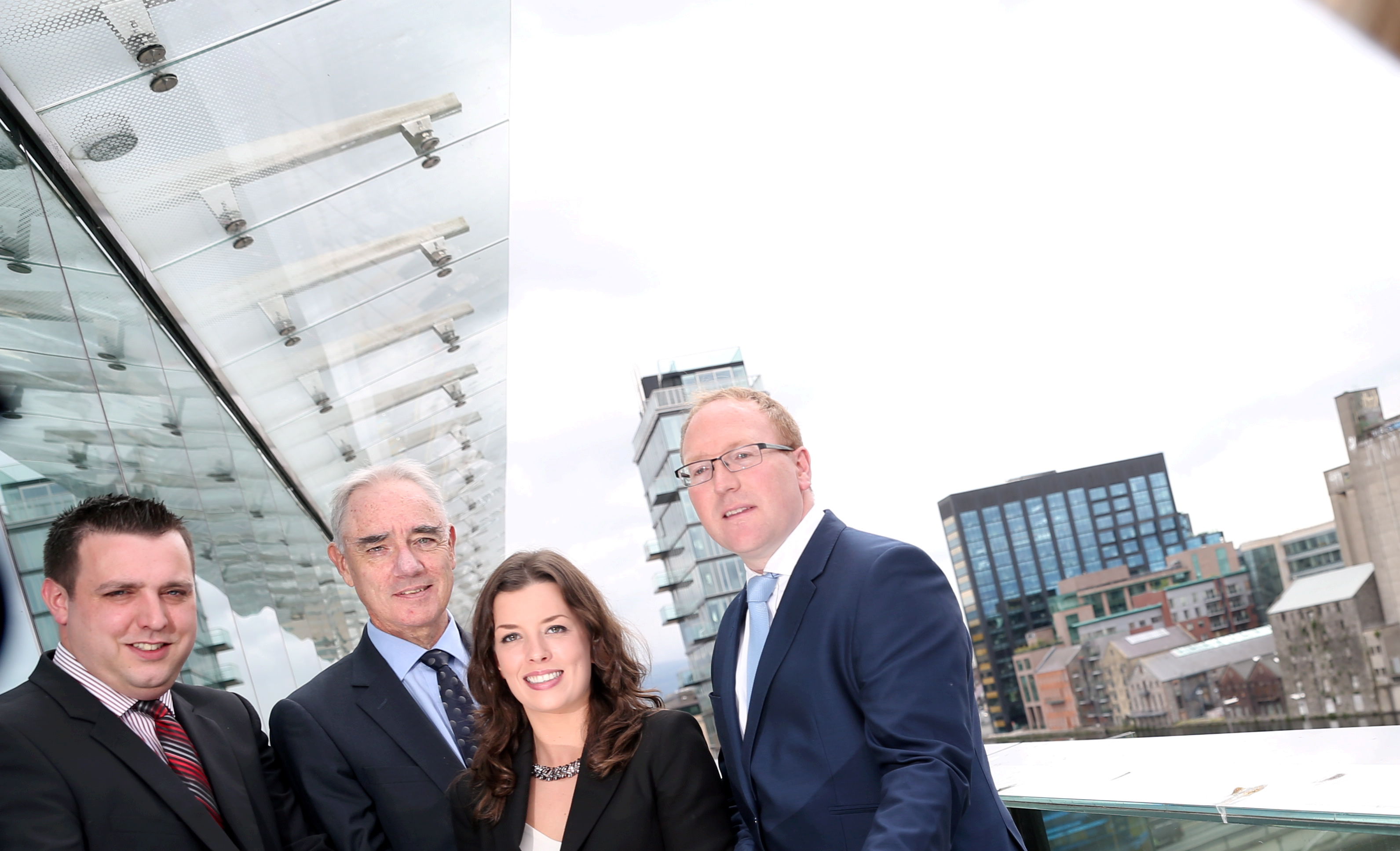 Repro Free: From Left: William McNamara, Business Advisor, Bank of Ireland Lexlip; Michael Moriarty, Manager of Financial & Enterprise Software High Potential Startups, Enterprise Ireland; Helen Norris, Kernel Capital & Brendan Casey, CEO, swiftQueue. Picture Jason Clarke.