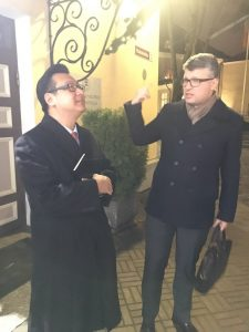 From left to right: David Chen, co-founder of the AngelVest cryptofund and Chief Financial Officer of Hanson Robotics; Mikhail Korb, Secretary-General of the Centre Party, Member of Parliament.