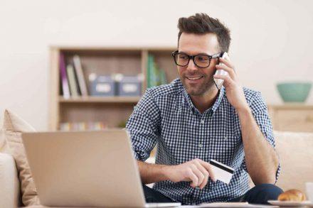 man laptop mobile