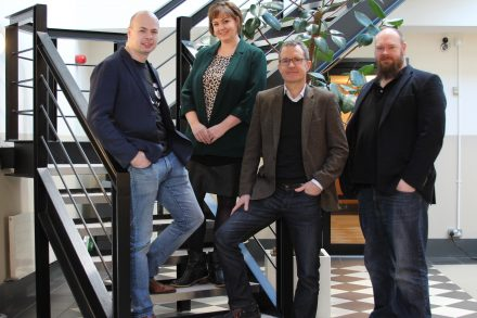 Pictured l-r: Lee Skillen, Cloudsmith CTO, Audrey Osborne, Techstart Ventures, Peter Lorimer, Cloudsmith CCO and Alan Carson, Cloudsmith CEO