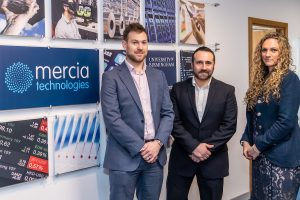 from left, David Baker of Mercia, StaffCircle founder Mark Seemann and Lauren Tunnicliffe of the British Business Bank