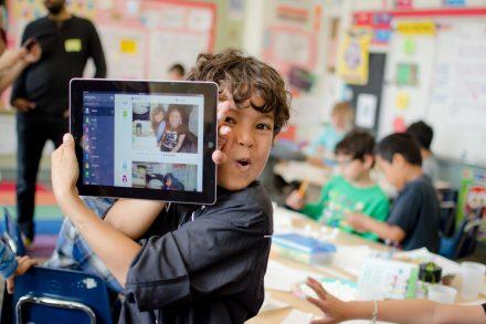 Student showing his ClassDojo digital portfolio