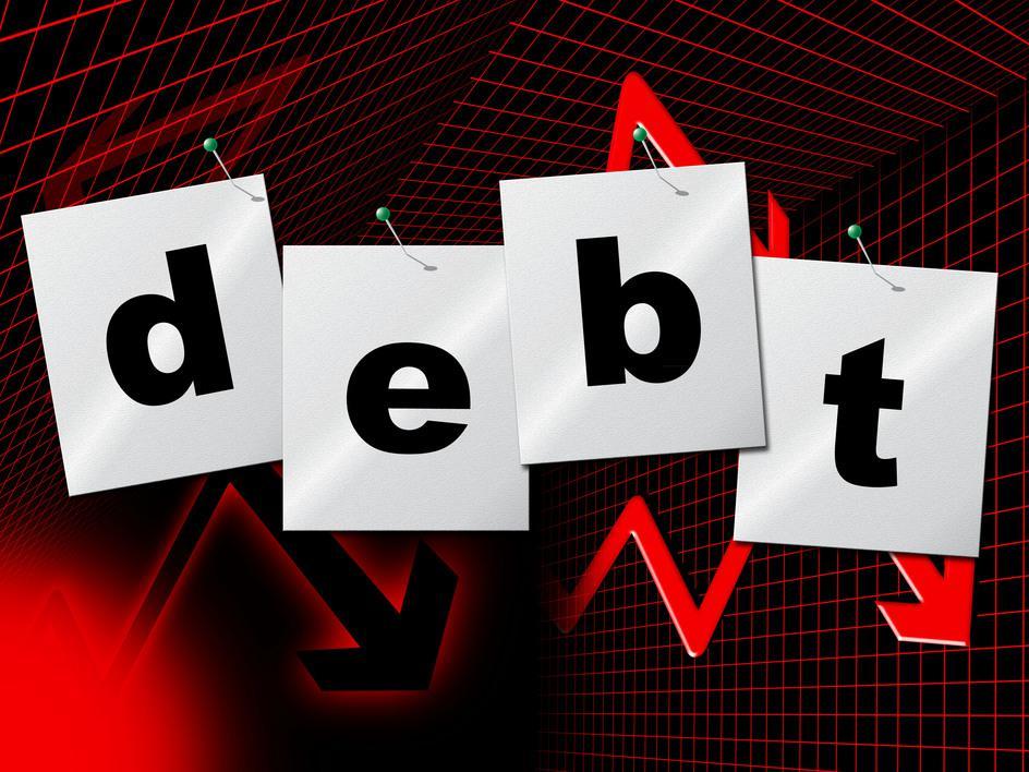 Debt sign showing a gradual reduction