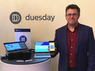 Esteban Díaz Asúa, co-founder and director of Duesday at the product launch in Mexico City