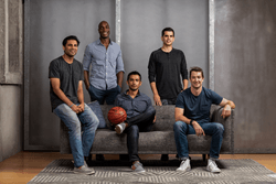 L to R: Sandeep Hingorani (BallerTV EVP), Kav Ohiomoba (FieldVision Co-Founder), Rob Angarita (BallerTV Co-Founder), Aaron Hawkey (BallerTV Co-Founder), Andy Kittler (FieldVision Co-Founder)