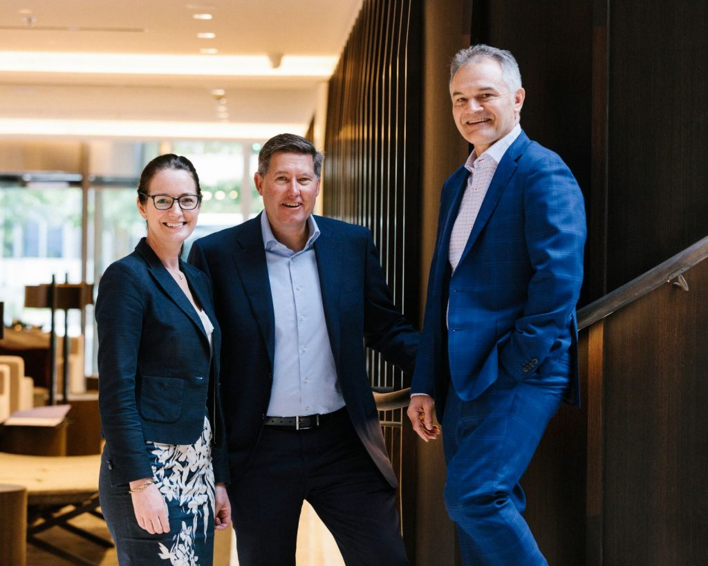 Pictured L-R: Louise May, Accenture's Health & Public Service lead for Australia and New Zealand with Anthony Honeyman, Chairman and a partner at Apis Group, and Tim Ryan, Managing Partner at Apis Group.
