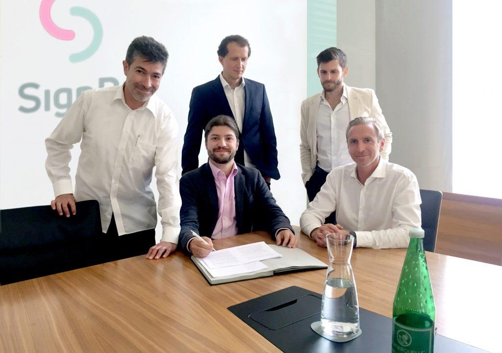 From left, Lisandro Aguilar (COO SignD), Bernhard Reiterer (Founder & CEO SignD), Martin Bechter (COO primeCROWD), Florian Übelacker (CCO primeCROWD), Dieter Kindl (CCO SignD)