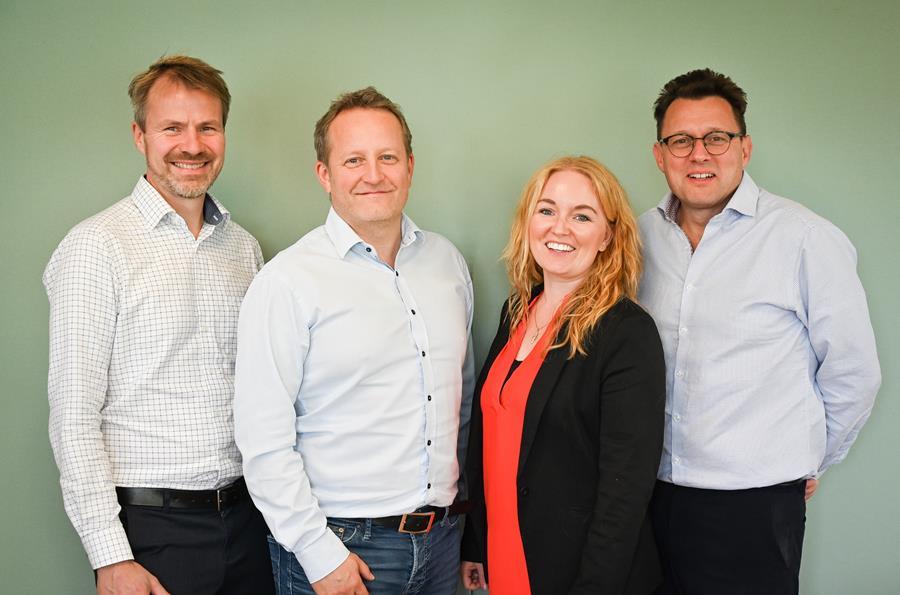 Picture: TimeLog management team. From left Søren Lund, founder, Christoffer Lanstorp, CPO, Sascha Skydsgaard, COO og Per Henrik Nilssen, CEO. / Timelog